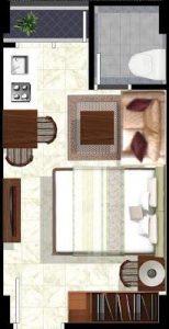 denah apartemen, green pramuka, denah tipe kamar, beli apartemen, sewa apartemen