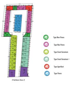 Denah Aparthouse River 8 dan penempatan type rumah susunnya
