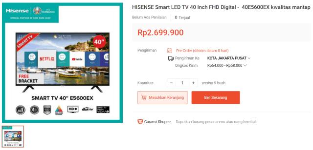 Hisense Smart TV 40E5600EX 40″