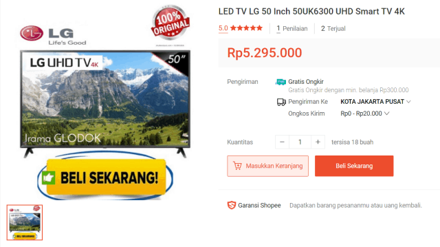 LG Smart TV 50UK6300 50″