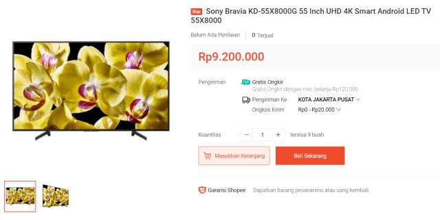 Sony Bravia Smart TV KD-55X8000G 55″