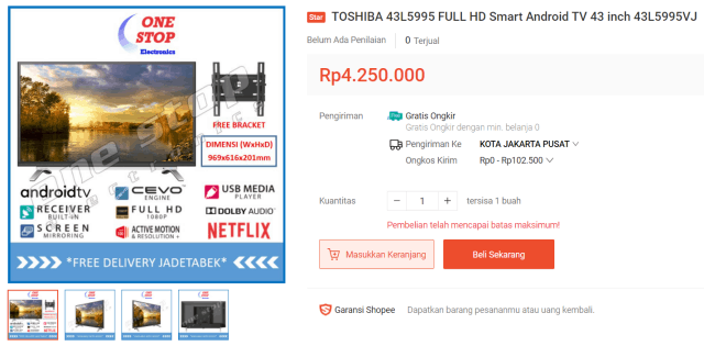 Toshiba Android TV 43L5995VJ 43″