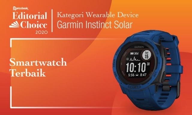 Rekomendasi Pricebook kategori Smartwatch Terbaik adalah Garmin Instinct Solar