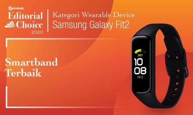 Rekomendasi Pricebook kategori Smartband Terbaik adalah Samsung Galaxy Fit 2
