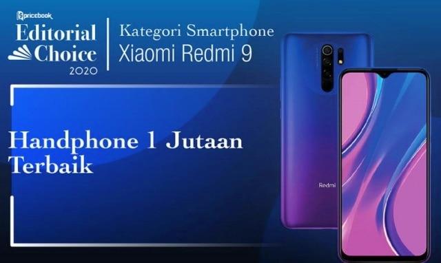 Rekomendasi Pricebook kategori Smartphone 1 Jutaan Terbaik adalah Redmi 9