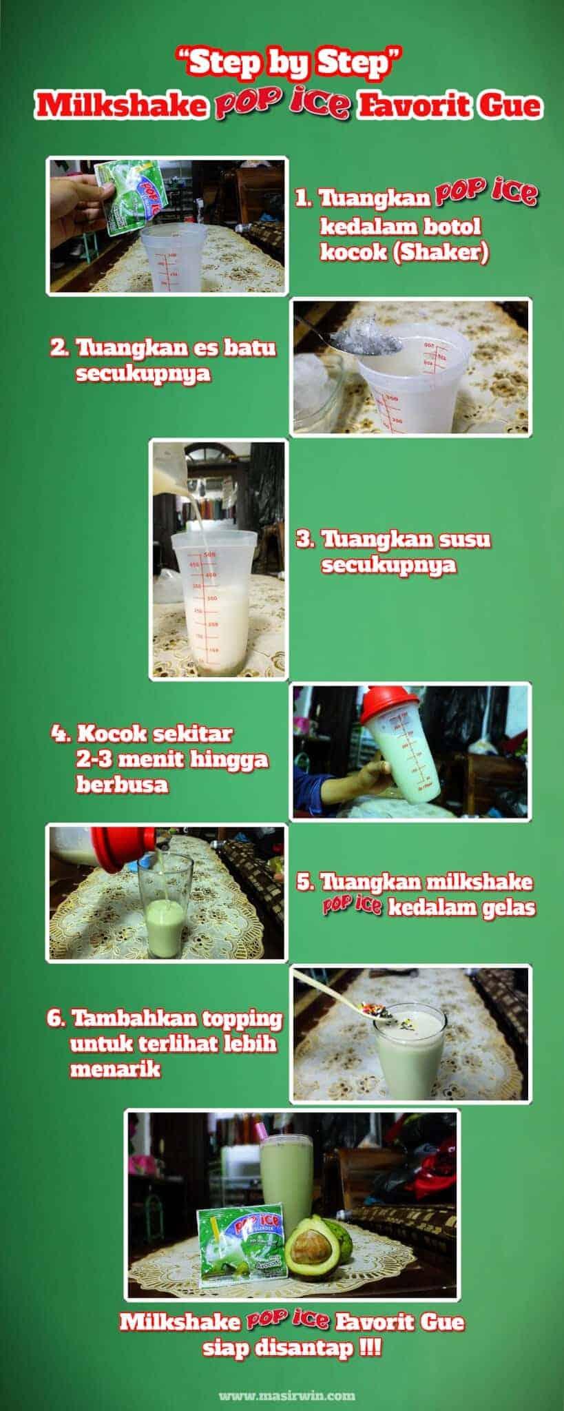 infografis milkshake, step by step susukocok, infograpic timeline, milkshake favort gue pop ice ice blended